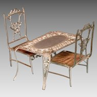 "Soft Metal Dollhouse Miniature Table and Chairs Early 1900s Small 1"" Scale"