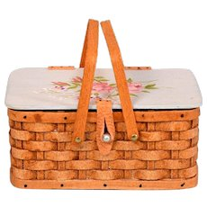 """Signed Hand-Woven Picnic Basket by Al Chandronnait with Hand-Painted Lid by 1988 1"""" Scale"""