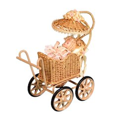 """Signed Wicker Buggy by Marcia Flomer and Bisque Baby by Doris Bradley 1992 3/4"""" Scale"""