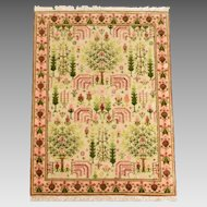 "Dollhouse Miniature Petit Point Lattice Aubusson Rug Signed Joan Adams 1987 1"" Scale"