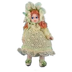 "2 1/2"" Bisque Dollhouse Girl Doll with Googly Eyes by Doris Bradley Green Ensemble"