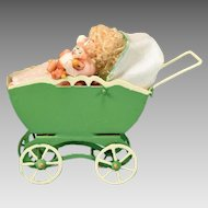 "1 1/2"" Tall Dollhouse Miniature Toy Baby Carriage with Baby Holding a Tiny Jointed Bisque Teddy Bear 1990s"