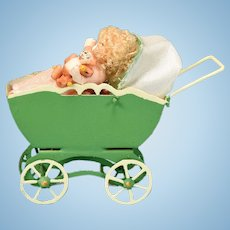 Dollhouse Miniature Toy Baby Carriage, Baby, and Bisque Teddy Bear 1990s
