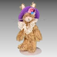 "3 3/4"" Lady Ascot Miniature Mohair Bunny Deb Canham Rainy Days Collection LE 2000 1997"