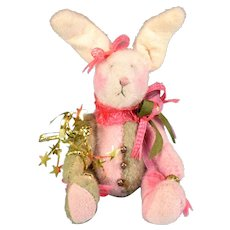 """3 3/4"""" Miniature Jester Bunny by Debi Ortega – Debi's Bears 1990s - Red Tag Sale Item"""