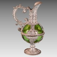 """Baroque Style Antique German Dollhouse Pitcher with Green Glass 1890s Large 1"""" Scale"""