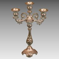 "Antique German Dollhouse Pewter 3 Light Candelabra by G. Söhlke 1870s Large 1"" Scale"