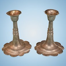 "Pair of Antique Miniature Dollhouse Cast Metal Candleholders Late 1800s Large 1"" Scale"