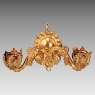 """Antique German Gilt Metal 2 Light Electrified Wall Sconce 1930s Large 1"""" Scale"""