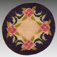 "6"" Round Dollhouse Miniature Hooked Rug Made in Occupied Japan 1940s"