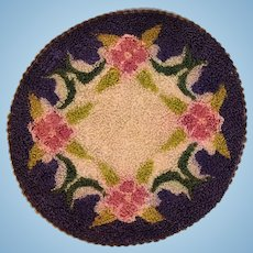 """6"""" Round Dollhouse Miniature Hooked Rug Made in Occupied Japan 1940s"""