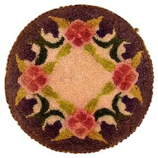 """6"""" Round Dollhouse Hooked Rug Made in Occupied Japan 1940s"""