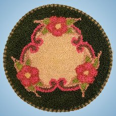 """5"""" Round Silk Dollhouse Miniature Hooked Rug Made in Occupied Japan 1940s"""
