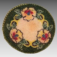 "5"" Round Dollhouse Hooked Rug Made in Occupied Japan 1940s"