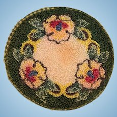 """5"""" Round Dollhouse Hooked Rug Made in Occupied Japan 1940s"""