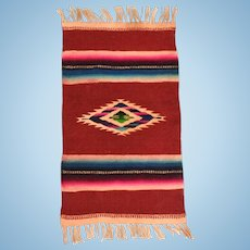 """5 1/2"""" x 11""""Vintage Wool Navajo Southwestern Style Dollhouse Rug Hand Woven Large 1"""" Scale"""
