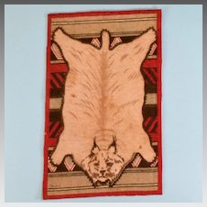 "4 3/4"" x 7 3/4"" Antique Miniature Tobacco Felt Lynx Animal Print Rug Dark Red Early 1900s 1"" Scale"