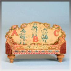 "Antique Bliss Dollhouse Lithographed ABC Sofa 1900s Small 1"" Scale"