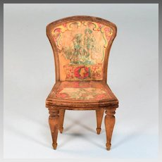 "Antique Bliss Dollhouse Lithographed ABC Chair - Letters G and L Early 1900s Large 1"" Scale"