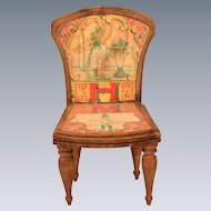 "Antique Bliss Dollhouse Litho ABC Chair - Letters H and M Early 1900s Large 1"" Scale"