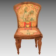 "Antique Bliss Dollhouse Lithographed ABC Chair - Letters H and M Early 1900s Large 1"" Scale"
