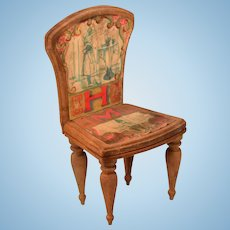 """Antique Bliss Dollhouse Litho ABC Chair - Letters H and M Early 1900s Large 1"""" Scale"""