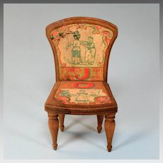 "Antique Bliss Dollhouse Lithographed ABC Chair - Letters J and O Early 1900s Large 1"" Scale"