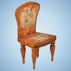"""Antique Bliss Dollhouse Litho ABC Chair - Letters J and O Early 1900s Large 1"""" Scale"""