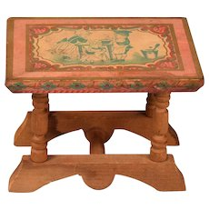 """Antique Bliss Dollhouse Lithographed Table - From the ABC Set 1900s 1"""" Scale - Red Tag Sale Item"""