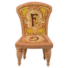 """Antique Bliss Dollhouse Litho ABC Chair - Letters F & G Late 1800s Large 1"""" Scale - Red Tag Sale Item"""