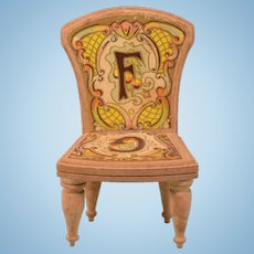 "Antique Bliss Dollhouse Litho ABC Chair - Letters F & G Late 1800s Large 1"" Scale"