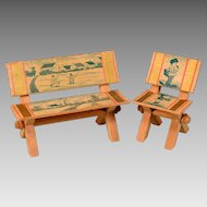 """Antique Dollhouse Lithographed Bench and Chair Late 1800s to Early 1900s Large 1"""" Scale"""