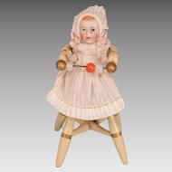 "German Painted Dollhouse High Chair with Bisque Baby 1910 – 1930s 1"" Scale"