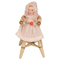 """German Painted Dollhouse High Chair with Bisque Baby 1910 – 1930s 1"""" Scale - Red Tag Sale Item"""