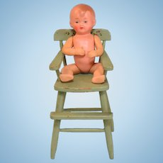 """Painted Wood Dollhouse High Chair with Celluloid Baby 1920 – 1930s Large 1"""" Scale"""