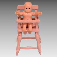 "German Painted Wood Dollhouse High Chair with Vinyl Baby 1920s – 1930s 1"" Scale"