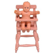 """German Painted Wood Dollhouse High Chair with Vinyl Baby 1920s – 1930s 1"""" Scale - Red Tag Sale Item"""
