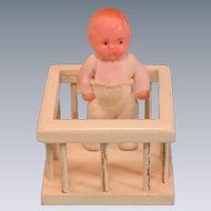"Vintage Dollhouse Painted Wood Play Pen with Vinyl Baby 1920s – 1930s 1"" Scale"