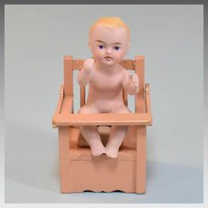"Dollhouse Wooden Potty Chair with All Bisque Bathing Doll 1920s – 1930s 1"" Scale"
