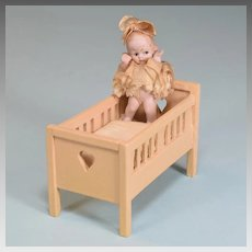 "Dollhouse Wooden Crib with German Hertwig All Bisque Character Doll 1920s 3/4"" Scale"