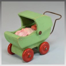 "Dollhouse Wooden Baby Carriage 1930s 1"" Scale with Vintage Vinyl Baby"