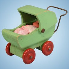 """Dollhouse Wooden Baby Carriage 1930s 1"""" Scale with Vintage Vinyl Baby"""