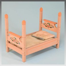 "Antique Dollhouse Wooden 4 Poster Bed 1920s Large 1"" Scale"