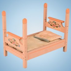 """Antique Dollhouse Wooden 4 Poster Bed 1920s Large 1"""" Scale"""