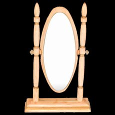 "Vintage Wooden Dollhouse Cheval Mirror 1"" Scale"