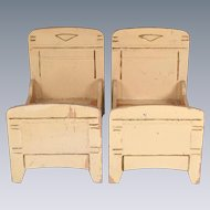 "Pair of Painted Wood Gottschalk Beds Small 1"" Scale"