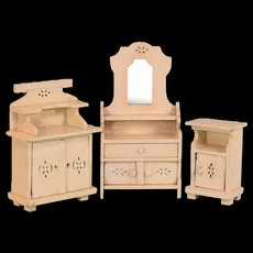 "Set of 3 Painted Wood Bedroom Furnishings 1920s – 1930s 1"" Scale"
