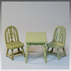 "Japanese 3 Pc. Dollhouse Wooden Table and Chair Set 1920s – 1930s 1"" Scale"