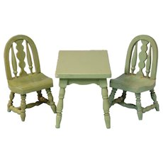 """Japanese 3 Pc. Dollhouse Wooden Table and Chair Set 1920s – 1930s 1"""" Scale - Red Tag Sale Item"""