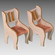 """Pair of Enameled and Gilt Wood Arm Chairs 1920s – 1930s Small 1"""" Scale"""